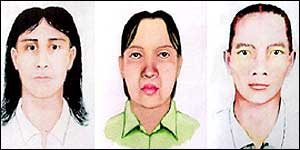 Police sketches of the three suspects