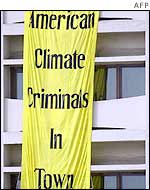 Green Peace protest banner in Delhi