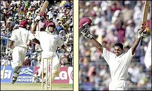 Shivnarine Chanderpaul celebrates the sixth Test century of his career and first on foreign soil