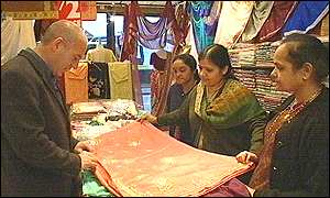 Rob Pittam visits a sari shop on the Belgrave Road in Leicester