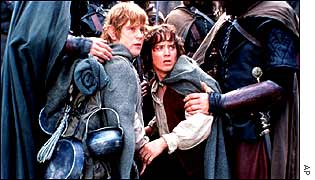 Sean Astin, left, as Sam and Elijah Wood as Frodo in The Lord Of The Rings: The Two Towers