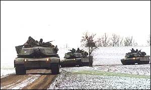 US army tanks on exercise