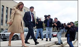 Melinda and Bill Gates outside the court