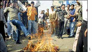 Protesters burn Mufti Mohammad Sayeed in effigy