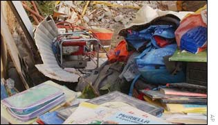Children's school books retrieved from the collapsed school in San Giuliano di Puglia