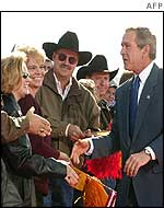 Bush greeting supporters in New Mexico