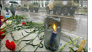 Tributes near the siege theatre in southern Moscow