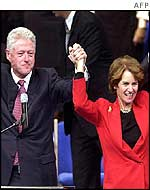 Former US President Bill Clinton campaigning with Maryland Governor Kathleen Kennedy Townsend