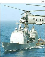 USS Princeton and helicopter