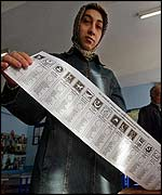 A woman holds a long ballot list
