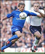 Chelsea's Enrique de Lucas and Spurs Stephen Carr