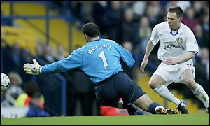 Leeds' Nick Barmby goes close to scoring