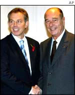 Tony Blair and Jacques Chirac at their recent meeting
