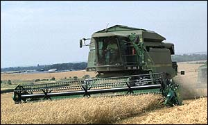 A combine harvester on a UK farm