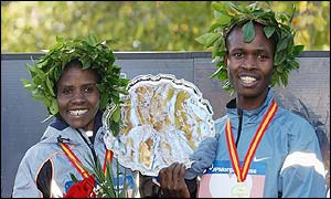 Chepchumba and Rop celebrate their marathon wins in New York