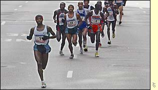 Rodgers Rop of Kenya leads the mens group in the 33rd annual New York City marathon