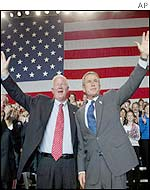 President George W Bush (right) lends his support to Republican candidate Saxby Chambliss in Savannah, Georgia