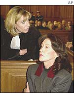 Christine Deviers-Joncour (r) in court