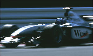 McLaren's David Coulthard at speed in 2002