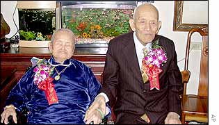 Liu Yung-yang, 103-years-old, sits on right with his102-year-old wife Yang Wan, 4 November 2002