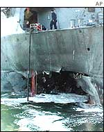 Blast hole in USS Cole