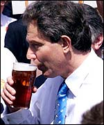Tony Blair enjoying a pint
