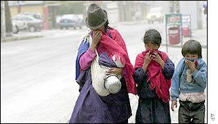 Quito residents crossing road with faces covered