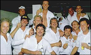 England celebrate victory at the Gabba in 1986