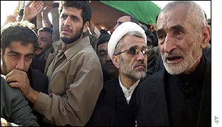 Abdullah Nouri (white turban) at his brother's funeral