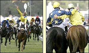 Damien Oliver celebrates victory in the Melbourne Cup