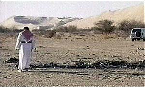 Wreckage in desert after explosion