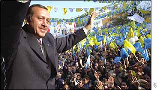 Recep Tayyip Erdogan at a party rally