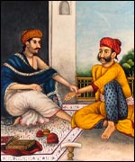 Traditional doctor (L) treating Indian patient (painting from Wellcome Institute library)