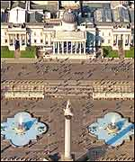 A virtual picture of a future Trafalgar Square from the air