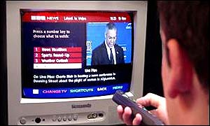 BBC News Interactive on the screen