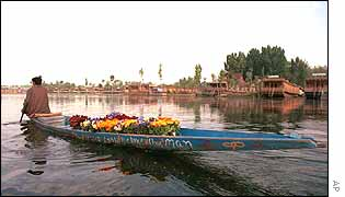 Flower seller on Dal lake in Srinagar