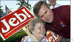 Florida Governor Jeb Bush with a supporter holding a placard in Florida