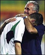 Niall Quinn and Mick McCarthy after World Cup defeat to Spain