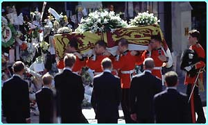 William and Harry watch Diana's coffin