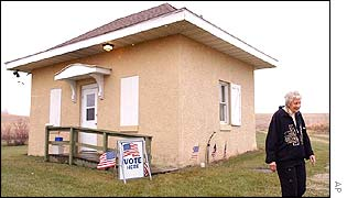 A voter at a remote polling station in Iowa
