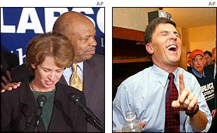 Kathleen Kennedy Townsend is comforted by Elijah Cummings (l) while Robert Ehrlich celebrates