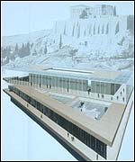 Artists' impression of Athens museum displaying marbles