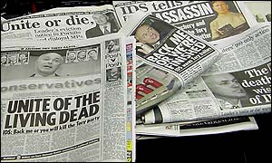 Newspapers coverage of Tory troubles