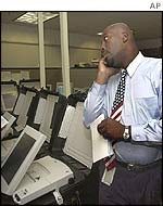 Election official with computer in Georgia