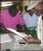 Fingerprinting at an aid centre