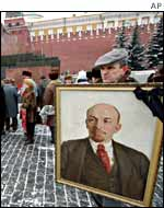Demonstrator with Vladimir Lenin's portrait