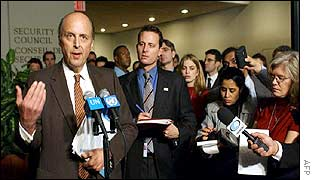US Ambassador to the UN John Negroponte talks to reporters