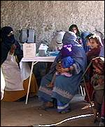Afghan women at a vaccination centre