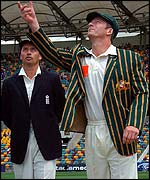 Nasser Hussain (left) and Steve Waugh