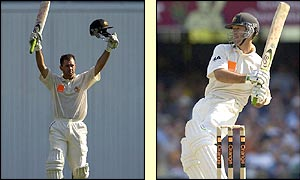 Ricky Ponting celebrates reaching his hundred before being snared by Ashley Giles